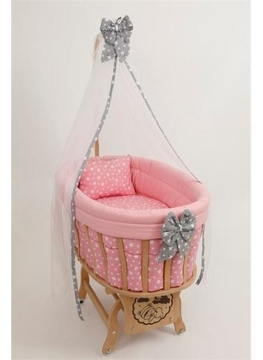 "Bebe Konfor Doğal Ahşap Sepet Beşik ""Pembe Yıldız"" Set İle Pembe"
